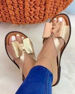 Plus Size Color Splicing Bow Round Toe Flat Slippers