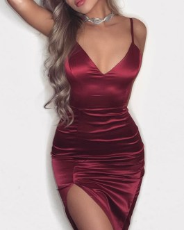 Sexy Club Straps Split Sleeveless Bodycon Dress