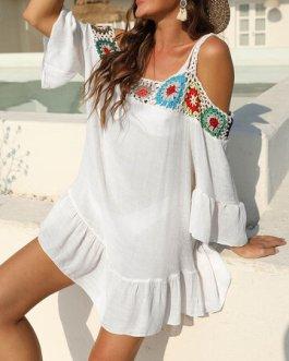 Sexy Embroidery Crochet Ruffle Beaches Holiday Dress