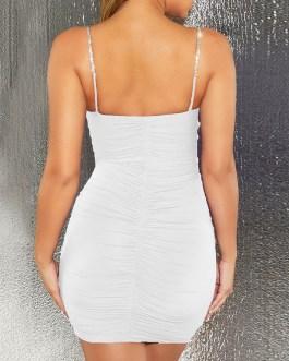 Sleeveless Rhinestones Chain Sexy Backless Sheath Bodycon Dresses