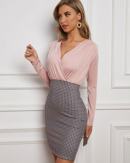 Two-Tone Long Sleeves Polyester Classic Slim Fit Bodycon Dresses