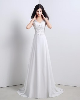 Bohemian Lace Appliques Beaded Backless A line Chiffon Bridal Gown
