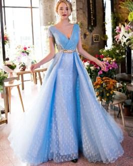 Luxury V Neck Rhinestones Beading Cap Sleeve Pleated Lace Long Prom Dresses