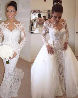Mermaid Pearls Beads Long Sleeves with Detachable Train Trumpet Bridal Gown