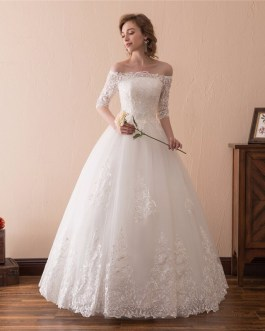 Off Shoulder Half Sleeves Lace Bridal Gowns
