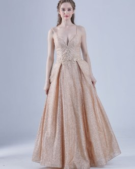Sequined A-Line Lace-up Applique Maxi Pageant Dresses