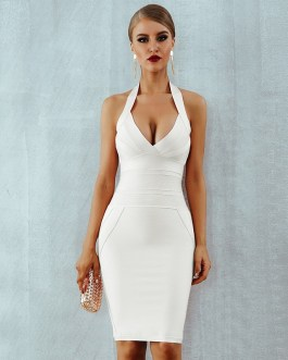 Sexy Halter Backless Sleeveless Club Celebrity Evening Party Dresses