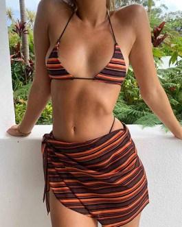 Sexy Horizontal Stripe Printed Traditional String Bikini Matching Cover Up