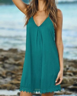 Sexy Solid Color Casual Sleeveless Pullover Beach Party Loose Dresses