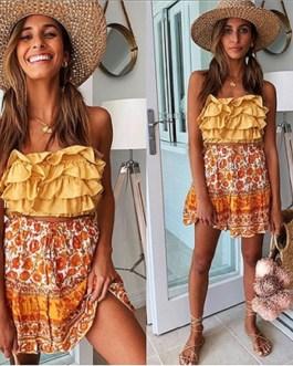 Vintage Elastic Waist Floral Print Ruffles Short Skirts