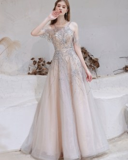 A Line Bateau Neck With Train Sleeveless Zipper Formal Party Dresses