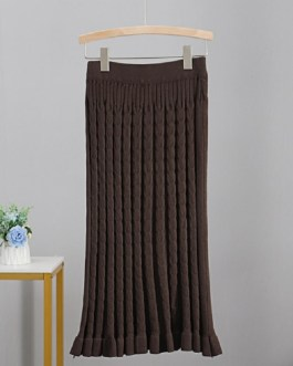Cable Twist Long Elegant Sexy Knitted Bodycaon Skirts