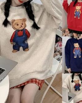 Cartoon Bear Print Cotton O Neck Sweatshirts