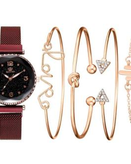Casual Fashion Starry Sky Magnet Watch Buckle Bracelet and Wrist Watch Set
