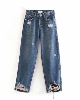 Casual Long Length Loose Wide Leg Street Wear Jeans