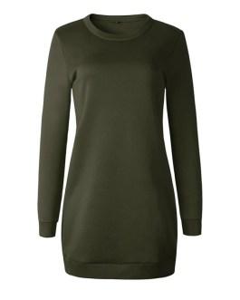 Casual Long Sleeve O Neck Pullover Sweatshirt Dress