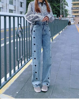 Casual Love Heart Embroidery Straight Jeans