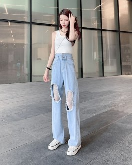 Casual Ripped Lace Spliced Wide Leg Thin Loose Jeans