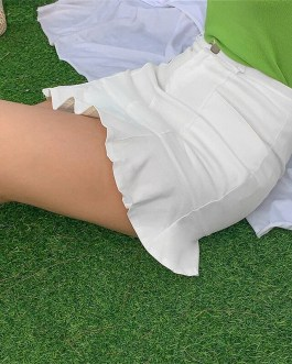 Casual Ruffle Hem Solid Slim Bodycon Trumpet Skirt