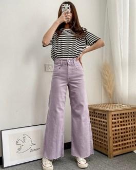 Casual Solid Zipper Fly High Waist Wide Leg Jeans