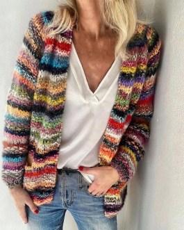 Cotton Acrylic Fiber Rainbow Stripes Knitted Cardigan Coat