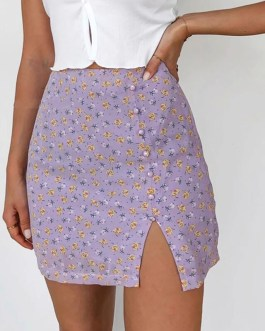 Elegant Floral Print Buttons High Waist Mini Split Skirts