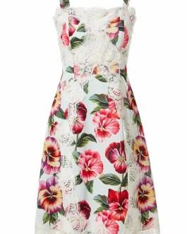 Elegant Flower Print Patchwork Lace Party Dresses