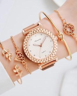 Elegant Magnet Diamond Quartz Bracelet And Wrist Watch Set
