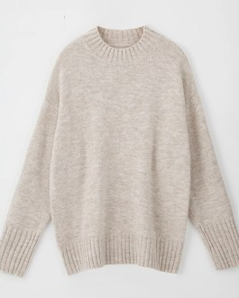 Elegant O Neck Batwing Long Sleeve Knitted Tops Sweaters