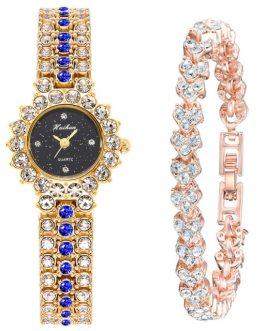 Elegant Rhinestone Round Shape Luxury Quartz Diamond Wrist Watches Bracelet Set