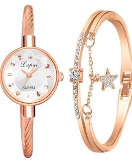 Fashion Geometric Glass Surface Bangle Bracelet and Wrist Watch Set