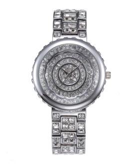 Fashion Round Rhinestone Ouro Shockproof Waterproof Wristwatch