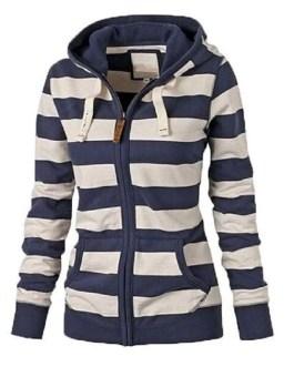 Fashion Striped Hoodies Fleece Sweatshirts Jacket