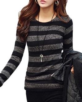 Fashion Striped Round Neck Pullover Slim Fit t-shirts
