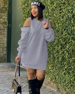 Hooded Sweatshirt Long Sleeve Cold Shoulder Casual Dress