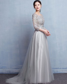 Lace Applique Beading Illusion Wedding Guest Dresses With Train
