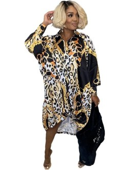 Long Sleeve Printed Club Party Casual Oversized Shirt Dress