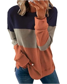 Long Sleeve Top O-neck Sweatshirt Casual Patchwork Pullover
