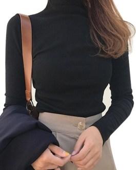 Long Sleeve Turtleneck Base Top T-shirts Slim Pullover