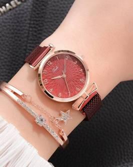 Luxury Fashion Quartz Clock Magnet Bracelet and Wrist Watch Set