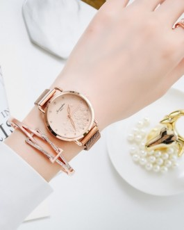 Luxury Magnet Buckle Flower Rhinestone Bracelet And Wrist Watch Set