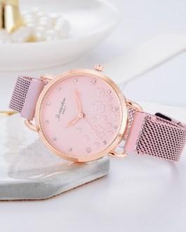 Luxury Magnet Buckle Flower Rhinestone Wrist Watch