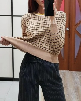 Plaid O Neck Elegant Knitted Sweater Tops