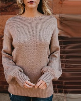 Sexy Back Bow Tie Casual Knitted Top Sweaters