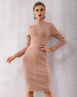 Sexy Long Sleeve Vestidos Evening Party Bodycon Bandage Dress