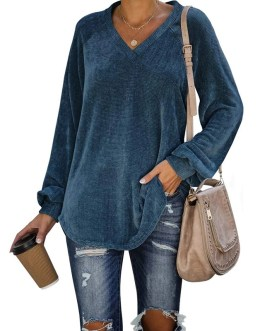 Solid Color Long Puff Sleeve V Neck T shirt