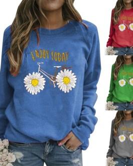 Sunflower Bike Print Hoodie Long Sleeve O Neck Sweatshirts