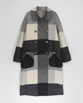 Vintage Plaid Woolen Double Breasted Fashion Overcoat