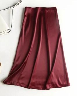 Elegant A Line Side Zipper Satin Solid Party Skirt
