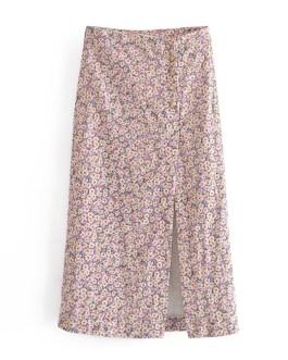 Elegant Floral Printed High Waist Split Skirt